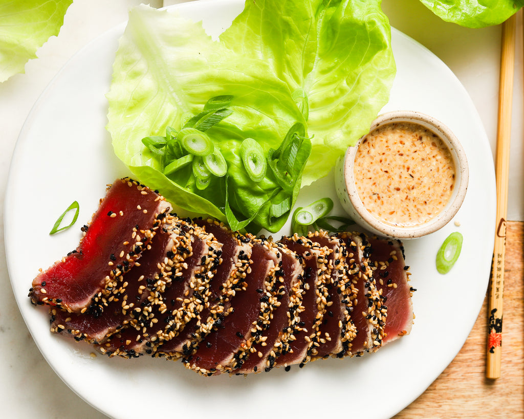 Sesame Seared Ahi Tuna Lettuce Cups