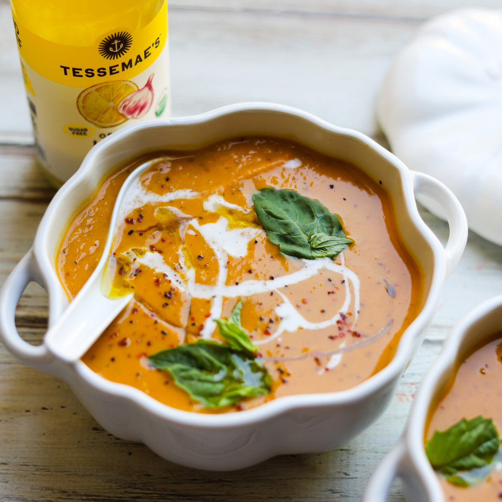 Creamy Thai Pumpkin and Sweet Potato Soup