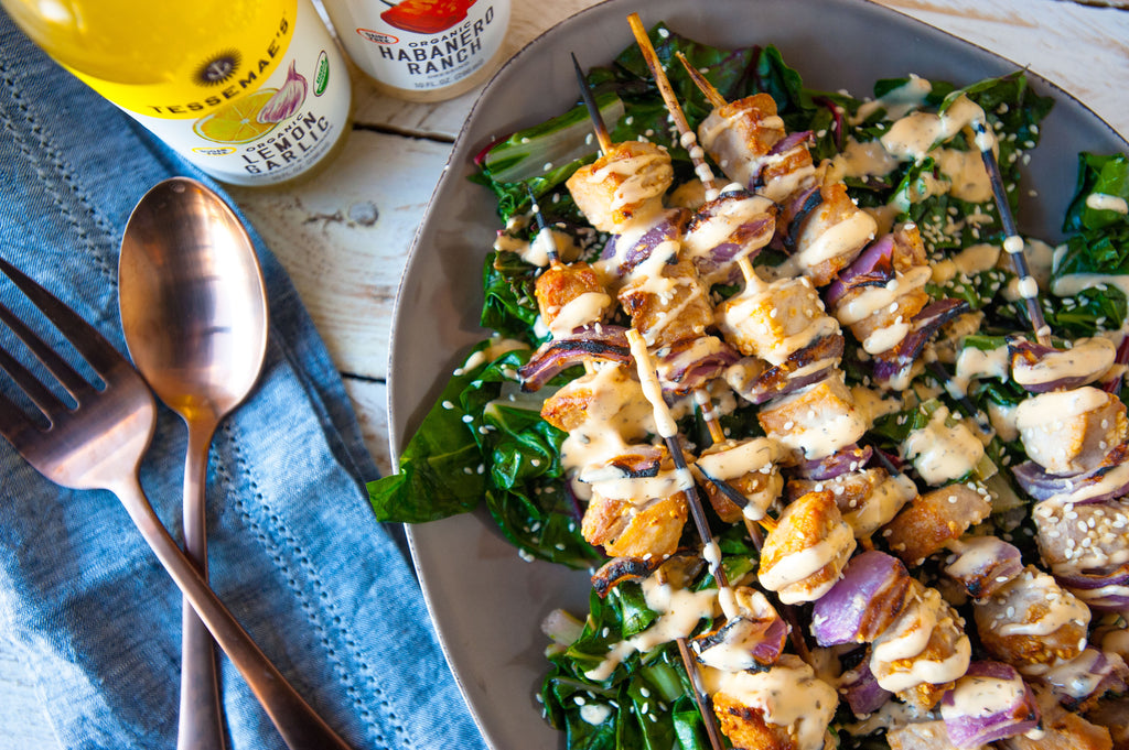 Spicy Tuna Kabobs with Swiss Chard & Zesty Tahini Sauce