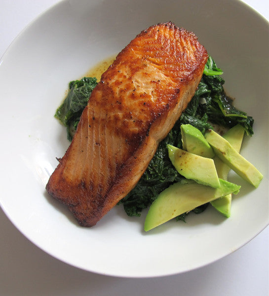 Seared Salmon with Mustard Greens & Avocado