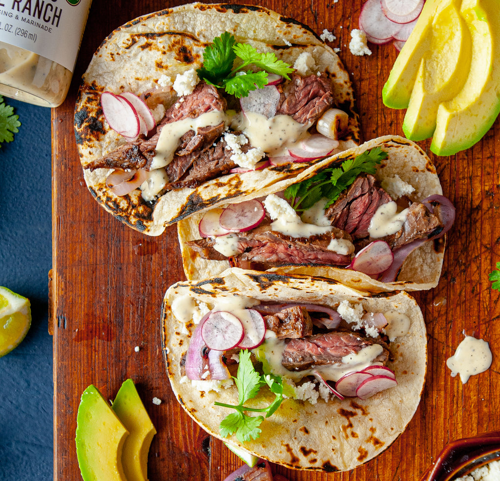 Grilled Steak & Onion Tacos with Cilantro Lime Ranch