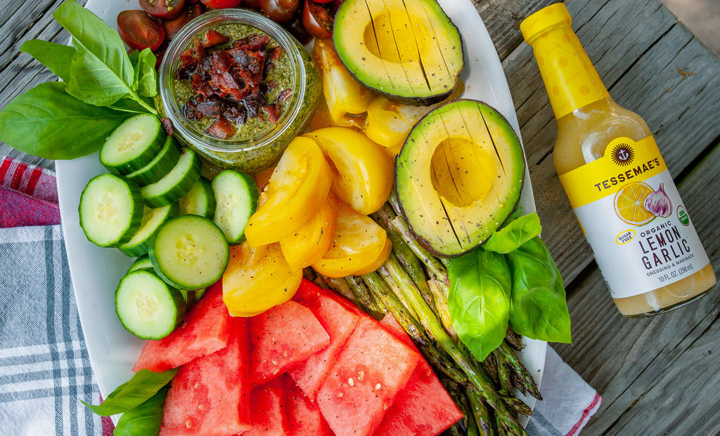 Tomato, Avocado & Watermelon Platter with Bacon Pesto