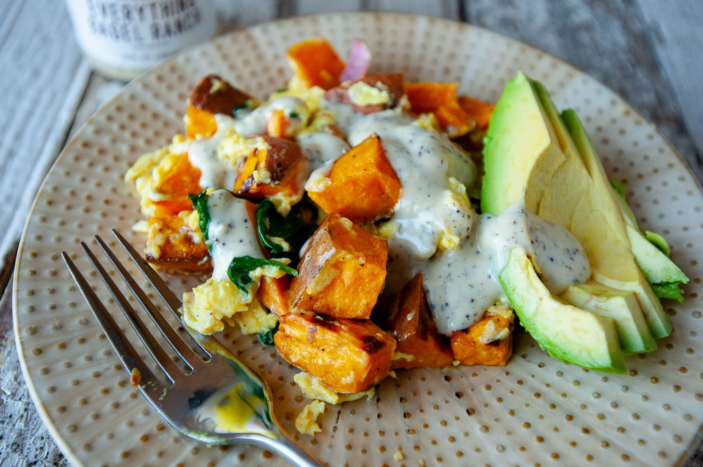 Sweet Potato Scramble with Everything Bagel Ranch