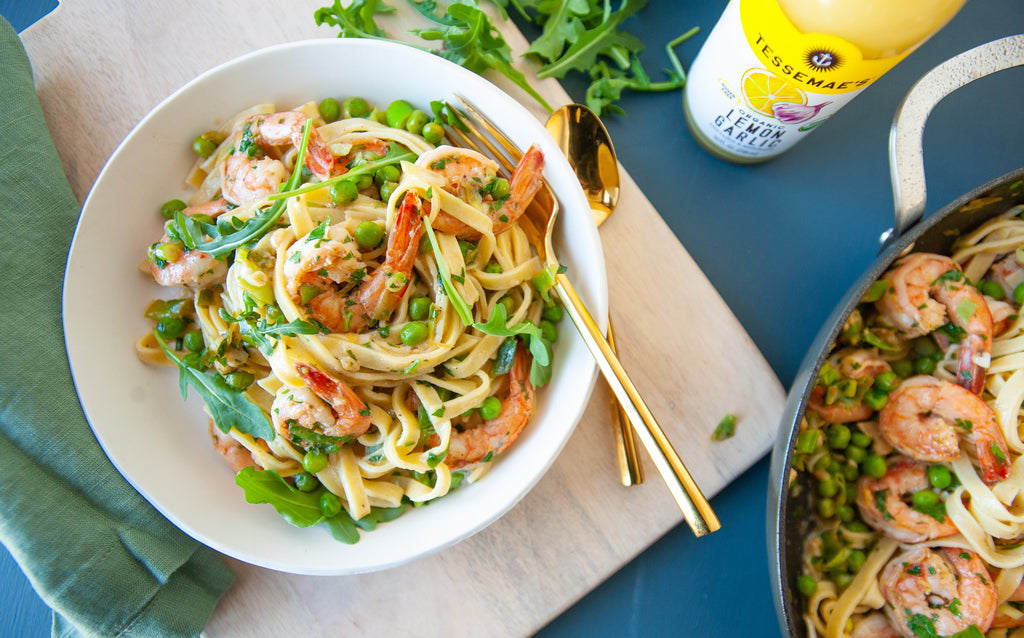 Shrimp Scampi with Lemon, Arugula & Peas