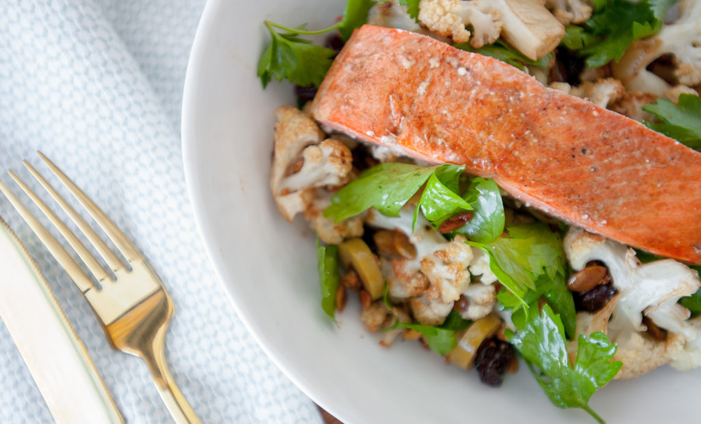 Balsamic Salmon with Roasted Cauliflower Salad