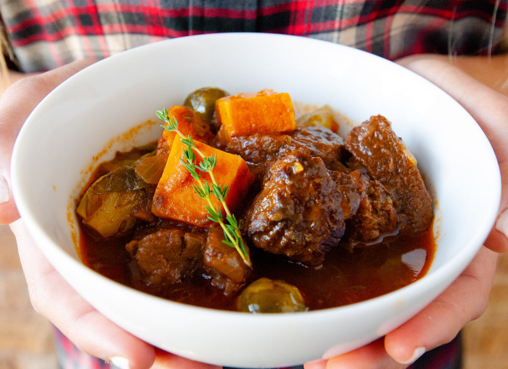 Beef, Sweet Potato & Brussels Sprout Stew