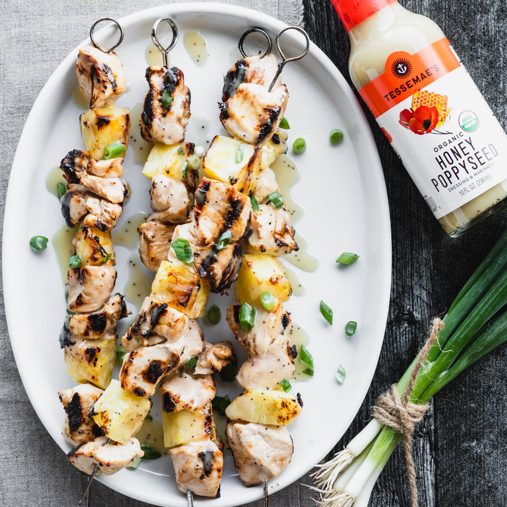 Honey Poppyseed Grilled Chicken and Pineapple Kebabs