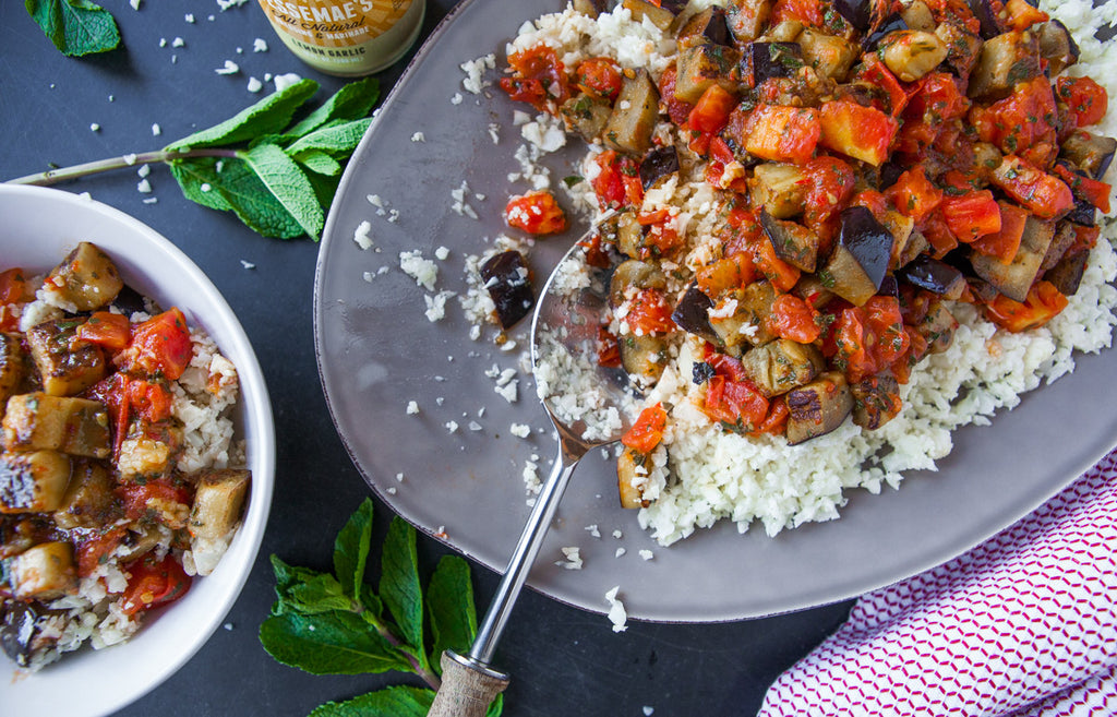 Charred Eggplant and Tomato over Cauliflower Rice