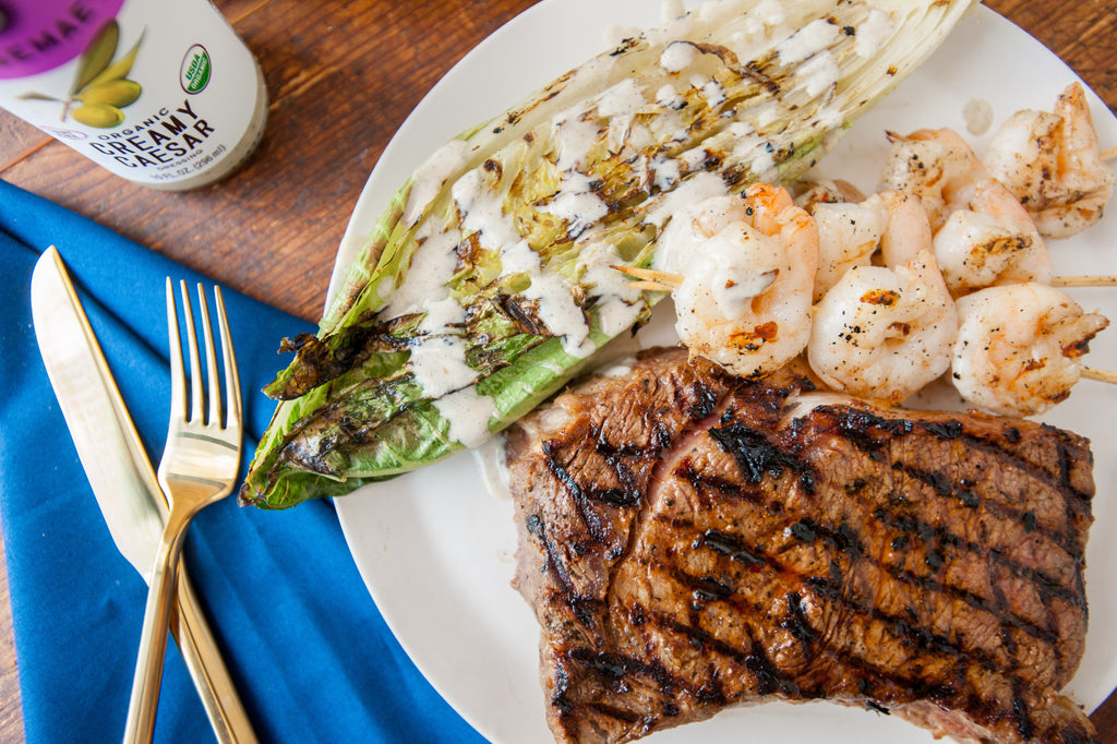 Grilled Steaks, Shrimp & Romaine Hearts