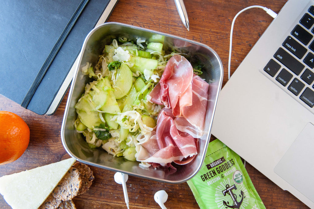 Easy Pressed Veggie Salad & Prosciutto Lunch