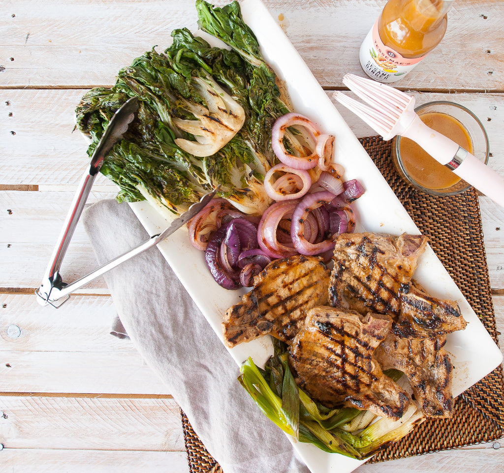 Sweet & Salty Grilled Pork Chops & Baby Bok Choy