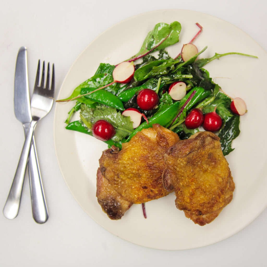 Crispy Chicken Thighs with Radish & Snap Peas