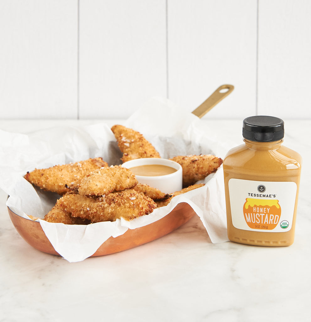 Crispy Parmesan Chicken Tenders with Honey Mustard