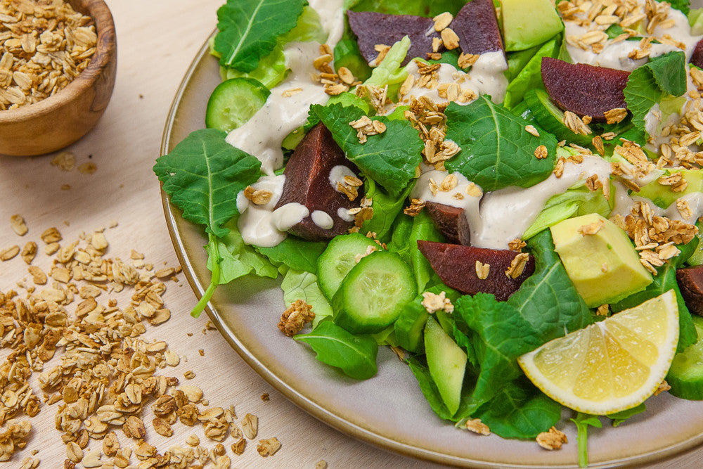 Green Salad with Beets, Avocado & Granola