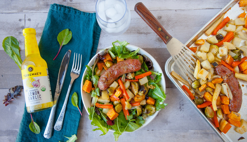 1 Dish, 2 Dinners: Roasted Veggies & Sausages