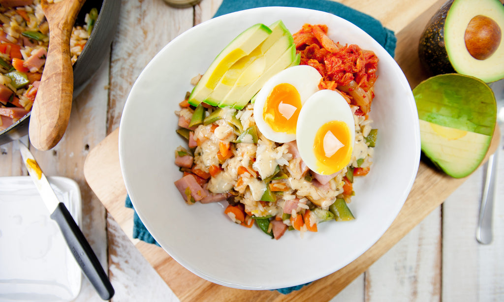 Ham & Egg Fried Rice with Spring Veggies