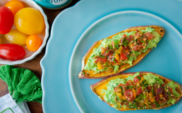 "Sweet Potato ""Toast"" with Guacamole & Fresh Salsa"