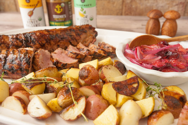 pork tenderloin potatoes & plums