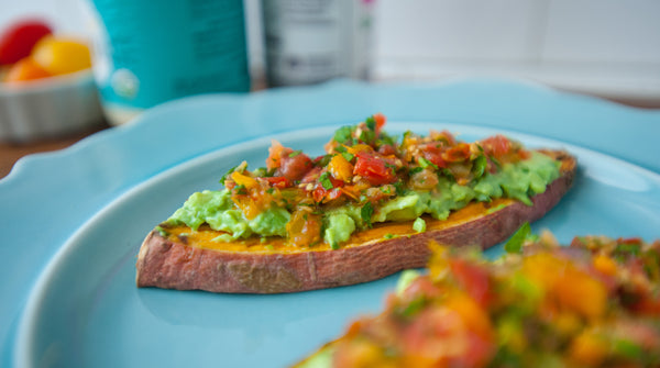 sweet potato toast with guacamole and salsa