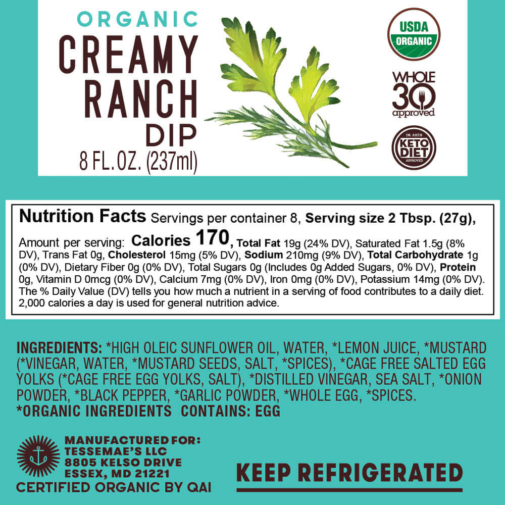 Organic Ranch Dip - Tessemae's All Natural