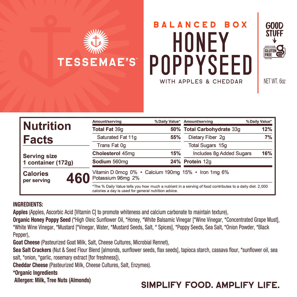 Balanced Box Honey Poppyseed with Apples & Cheddar - Tessemae's All Natural