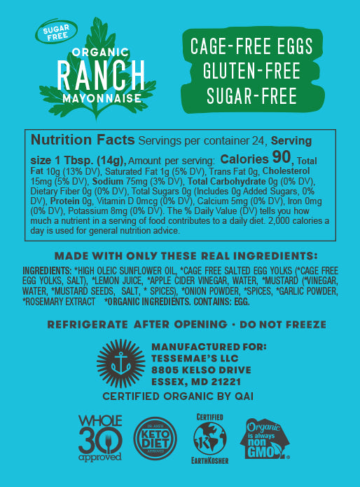 Organic Ranch Mayonnaise - Tessemae's All Natural