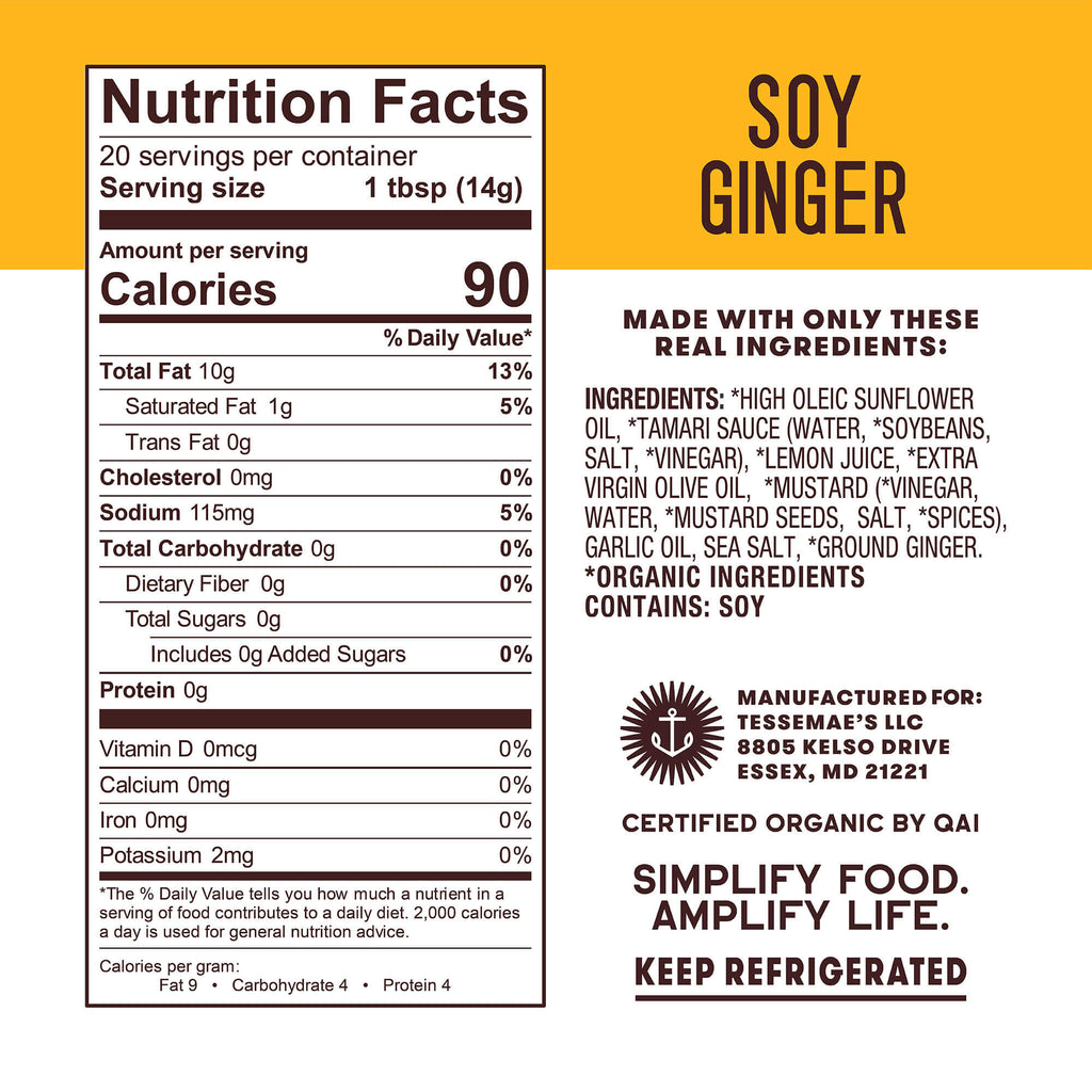 Organic Soy Ginger - Tessemae's All Natural