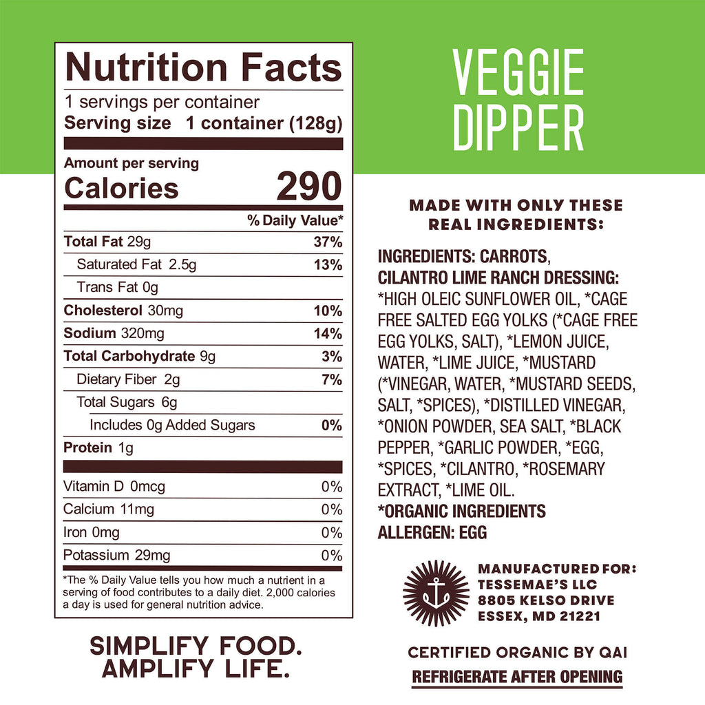 Cilantro Lime Ranch Veggie Dipper - Tessemae's All Natural