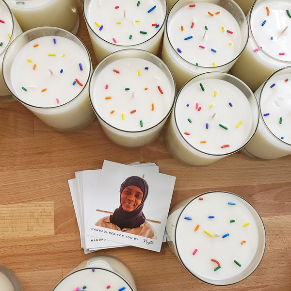 Prosperity Candle collaboration with the nonprofit The Little Market for candles handmade with love that empower women.