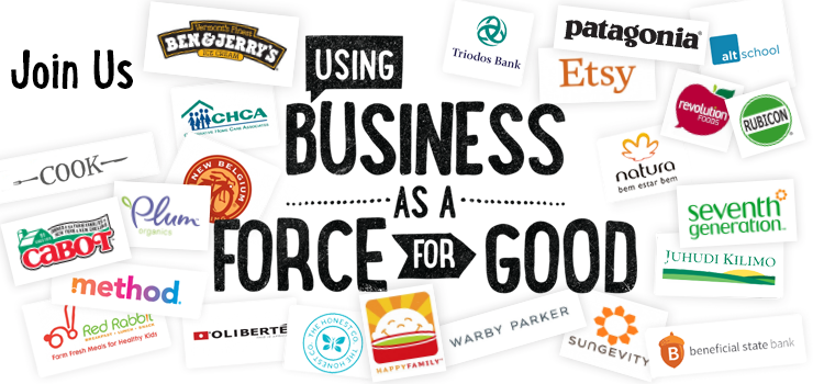 B Corps include Patagonia, Cabot, Method, Ben & Jerry's, Warby Parker, Seventh Generation, Etsy, King Arthur Flour