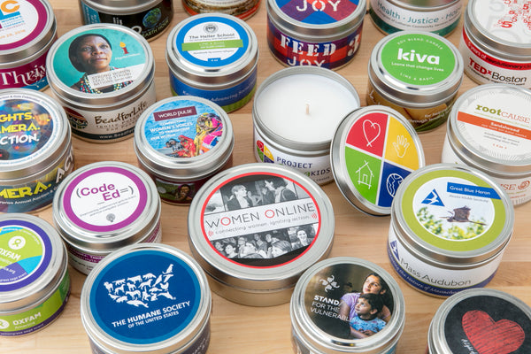 Donor appreciation gifts that give back - soy candles handpoured by women artisans at Prosperity Candle in the U.S.