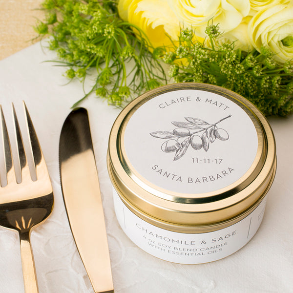 Custom Wedding Favor Prosperity Candle