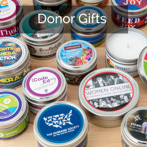 Donor appreciation gifts that give back - soy candles handpoured by women artisans in the U.S.