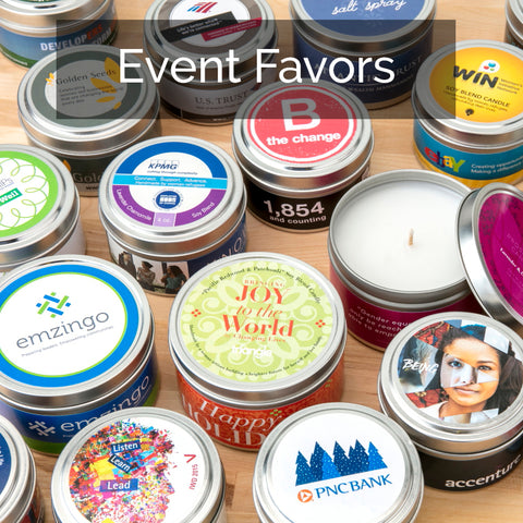 Event favors - custom event favors that give back, soy candles handpoured by women artisan in the U.S.