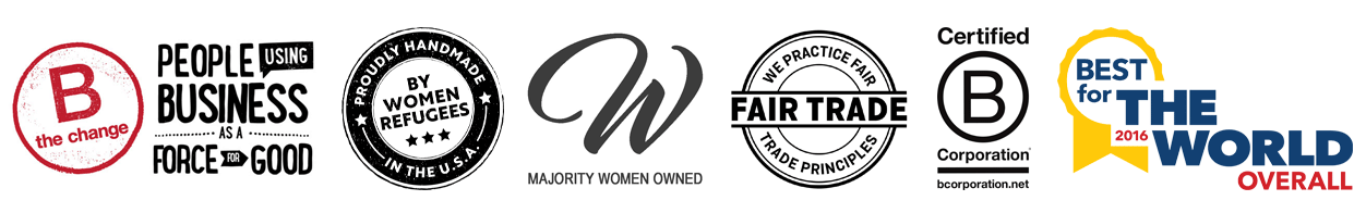 Fair trade woman owned B-Corp certified candles handmade by women artisan refugees