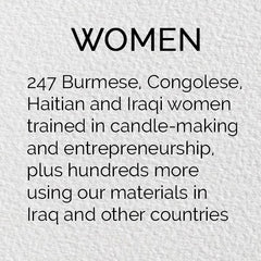 Artisan women trained in candle-making and entrepreneurship by Prosperity Candle