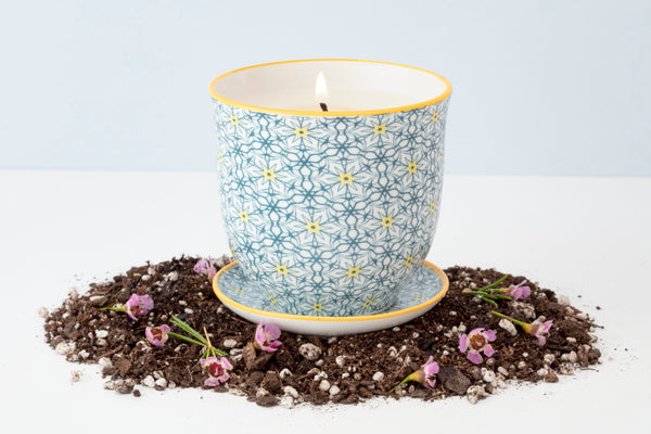 Soy blend Liberte Pot Candles that can be repurposed as a plant pot with wildflower seed paper.
