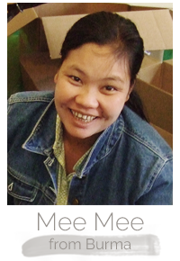 Mee Mee a Burmese woman makes handcrafted soy blend fair trade candles at Prosperity Candle