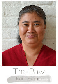 Tha Paw a Burmese woman makes handcrafted soy blend fair trade candles at Prosperity Candle