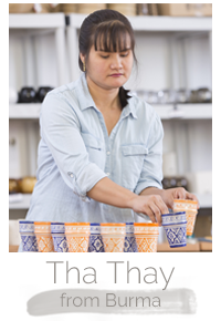 Tha Thay a Burmese woman makes handcrafted soy blend fair trade candles at Prosperity Candle