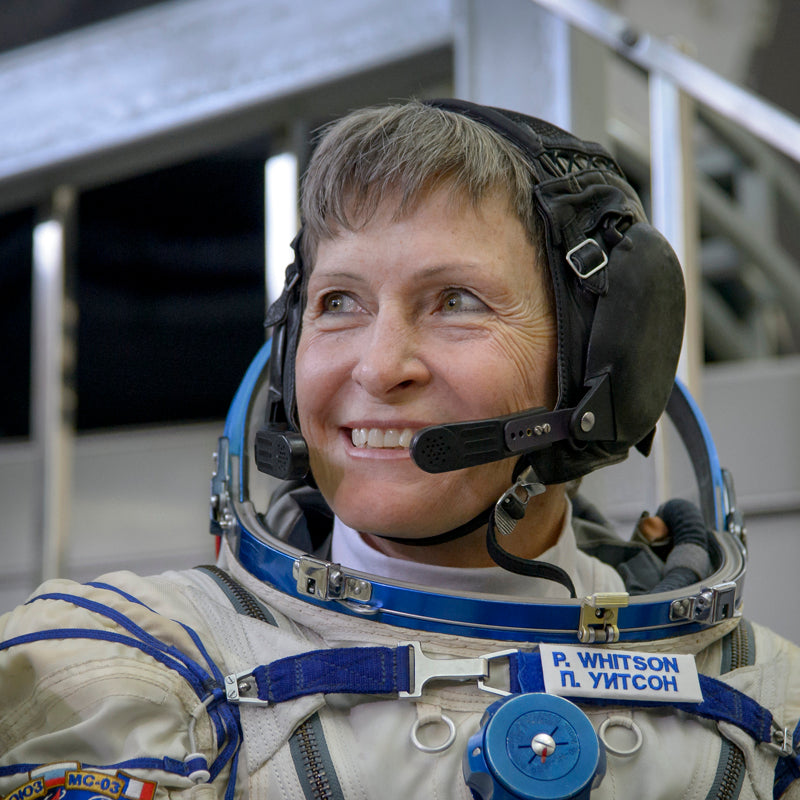 Astronaut Peggy Watson is an inspiration to Prosperity Candle's women refugees pouring fair trade handmade soy candles