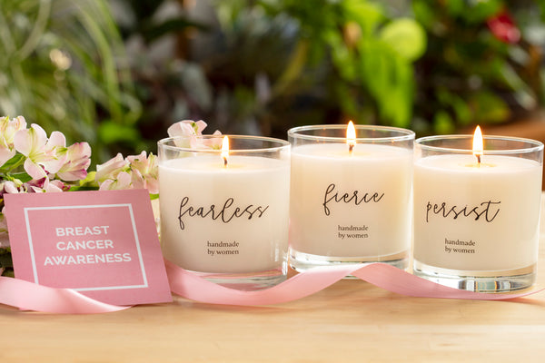 Products that Donate to Support Breast Cancer Research & Awareness - She Inspires Candle