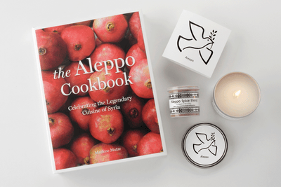 Aleppo Cuisine Gift Set - Prosperity Candle handmade by women artisans fair trade soy blend candles