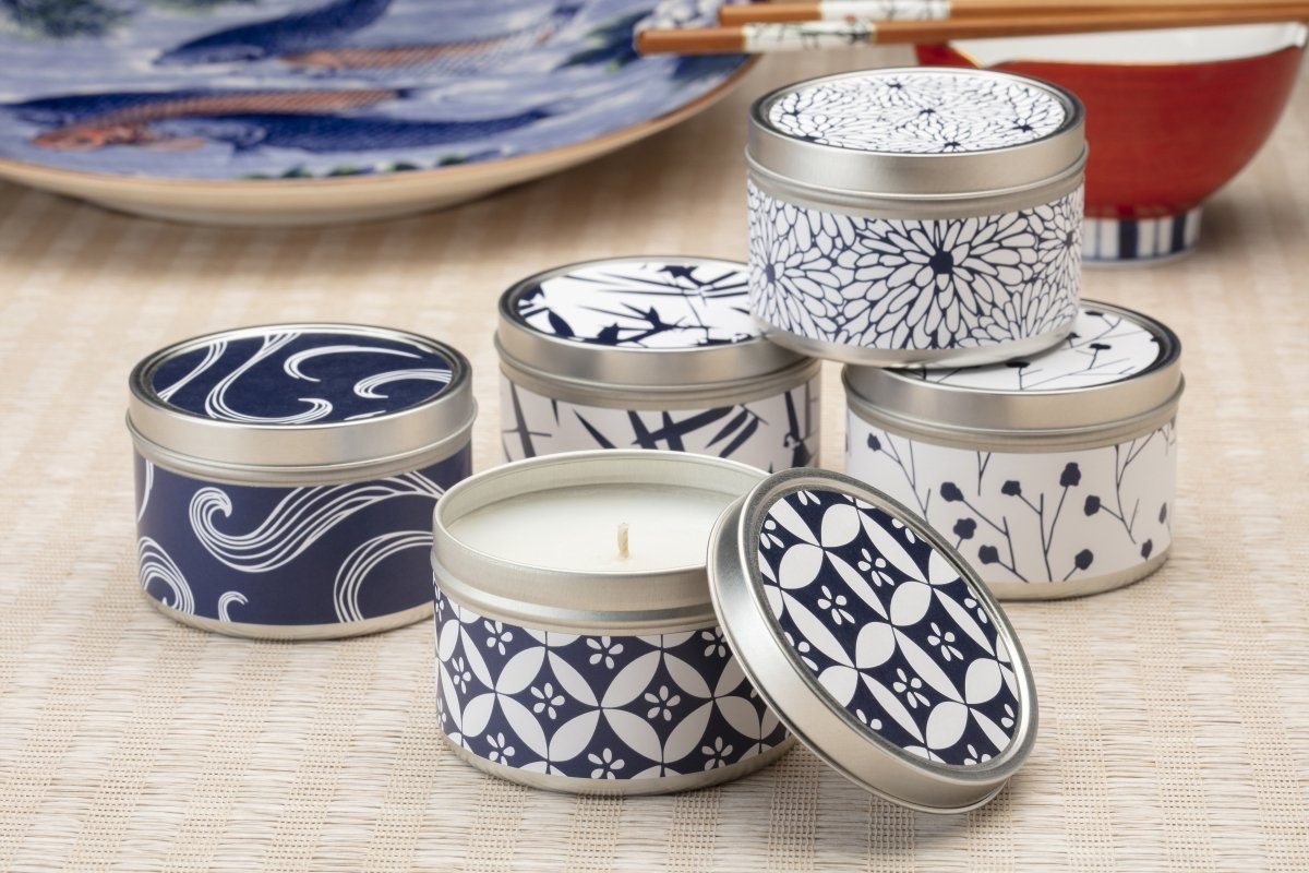 Blue and White Japanese Candles - ethically made candles and gifts that give back. Handpoured by women artisans at Prosperity Candle