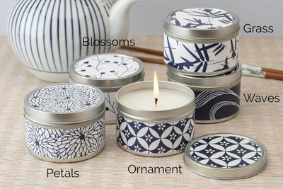 Blue and White Decorative Tin Candles - ethically made candles that give back poured by women artisans at Prosperity Candle