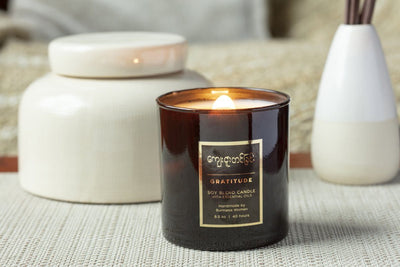 Handmade soy blend Burmese Candle in Gratitude scent. Gifts that give back.