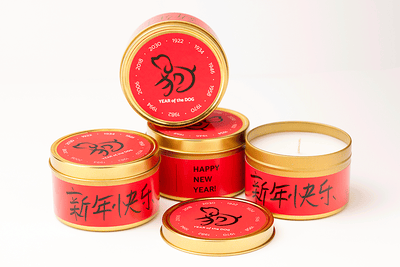 Chinese New Year fair trade soy blend candle, year of the dog, handmade by women refugee artisans at Prosperity Candle