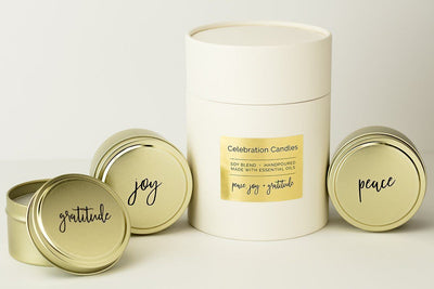 Celebration Candles - Prosperity Candle handmade by women artisans fair trade soy blend candles. A thoughtful hostess gift all year round that gives back!