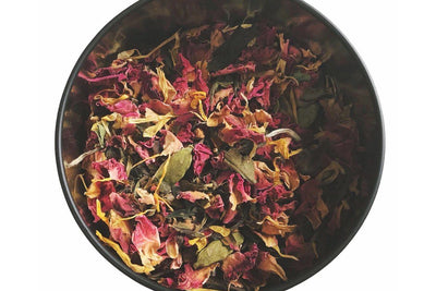 Hand-blended herbal Ceremony tea by Adjourn Teahouse.