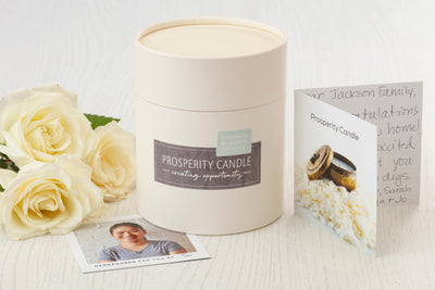 Gift box for Terrace Collection flower pot candles, ethically made by women.